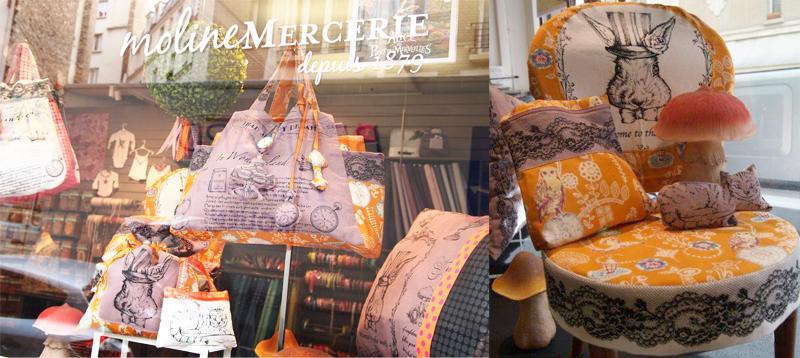 le pays des merveilles en vitrine de moline mercerie le blog couture frou frou mercerie. Black Bedroom Furniture Sets. Home Design Ideas